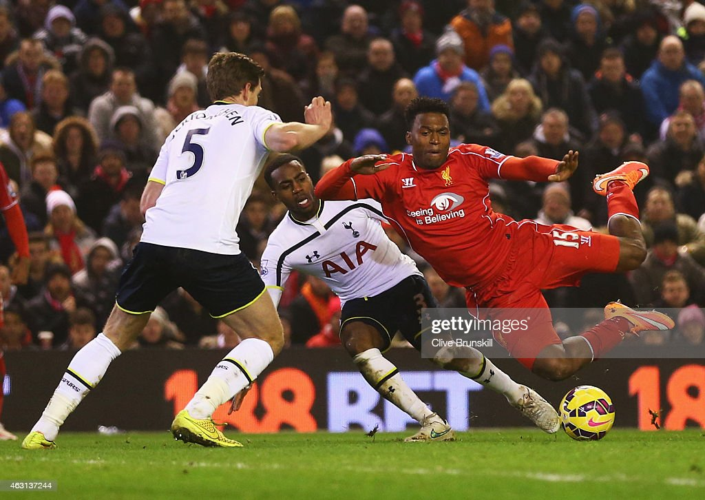 Daniel Sturridge of Liverpool is brought down by Danny Rose of Tottenham Hotspur leading to a penalty during the Barclays Premier League match...