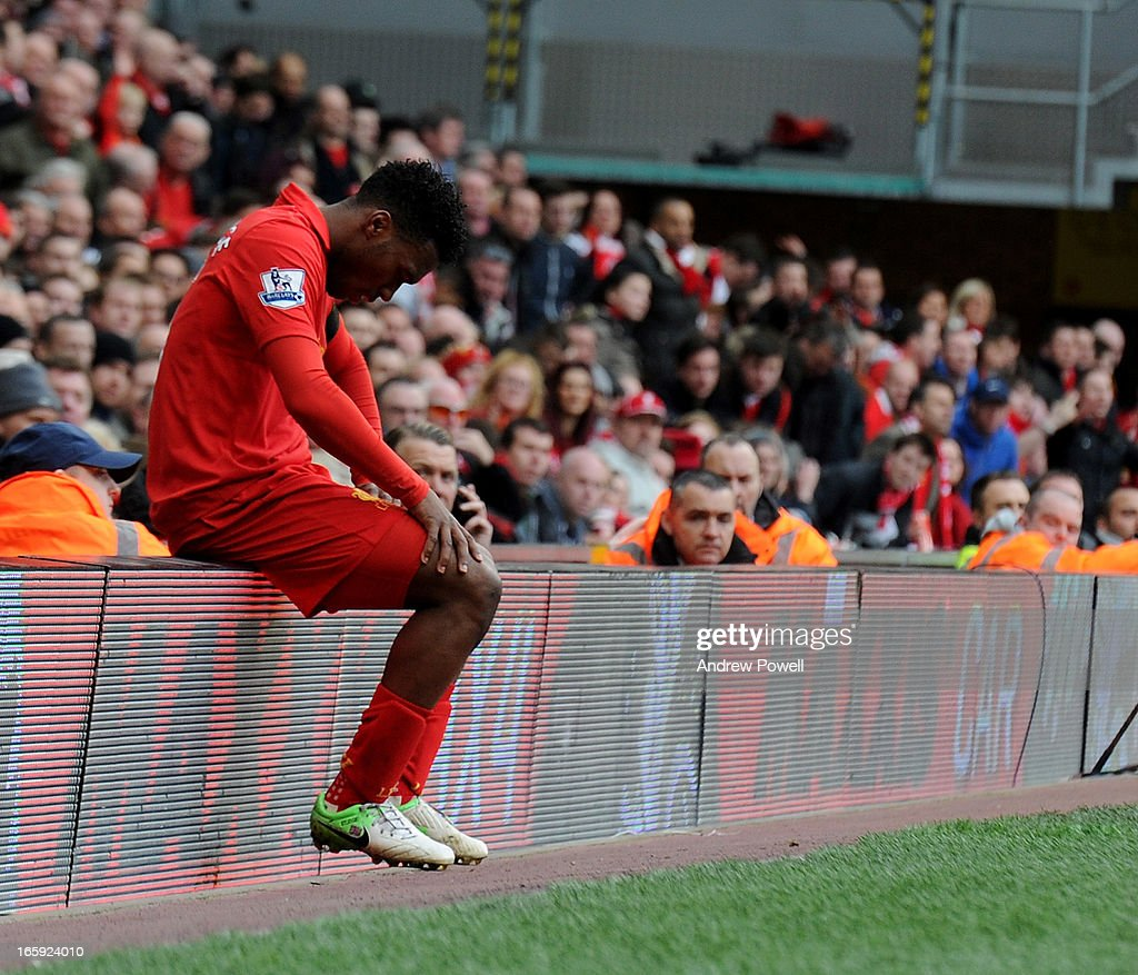 <a gi-track='captionPersonalityLinkClicked' href=/galleries/search?phrase=Daniel+Sturridge+-+Soccer+Player&family=editorial&specificpeople=677270 ng-click='$event.stopPropagation()'>Daniel Sturridge</a> of Liverpool looks dejected during the Barclays Premier League match between Liverpool and West Ham United at Anfield on April 7, 2013 in Liverpool, England.
