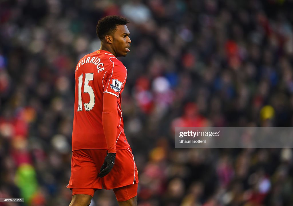 <a gi-track='captionPersonalityLinkClicked' href=/galleries/search?phrase=Daniel+Sturridge&family=editorial&specificpeople=677270 ng-click='$event.stopPropagation()'>Daniel Sturridge</a> of Liverpool looks on during the Barclays Premier League match between Liverpool and West Ham United at Anfield on January 31, 2015 in Liverpool, England.