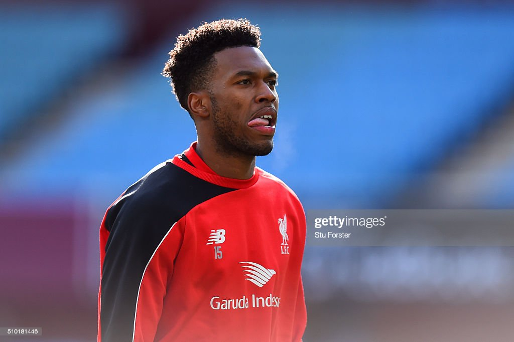 <a gi-track='captionPersonalityLinkClicked' href=/galleries/search?phrase=Daniel+Sturridge&family=editorial&specificpeople=677270 ng-click='$event.stopPropagation()'>Daniel Sturridge</a> of Liverpool looks on during the warm-up before the Barclays Premier League match between Aston Villa and Liverpool at Villa Park on February 14, 2016 in Birmingham, England.