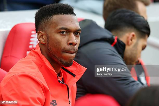 Daniel Sturridge of Liverpool looks on from the bench during the Emirates FA Cup Fourth Round match between Liverpool and Wolverhampton Wanderers at...