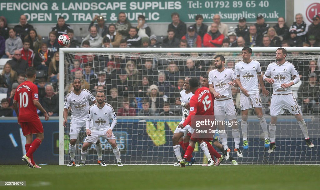<a gi-track='captionPersonalityLinkClicked' href=/galleries/search?phrase=Daniel+Sturridge&family=editorial&specificpeople=677270 ng-click='$event.stopPropagation()'>Daniel Sturridge</a> of Liverpool misses with a free kick during the Barclays Premier League match between Swansea City and Liverpool at The Liberty Stadium on May 1, 2016 in Swansea, Wales.