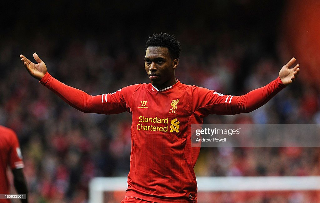 Daniel Sturridge of Liverpool reacts during the Barclays Premier League match between Liverpool and West Bromwich Albion at Anfield on October 26, 2013 in Liverpool, England.