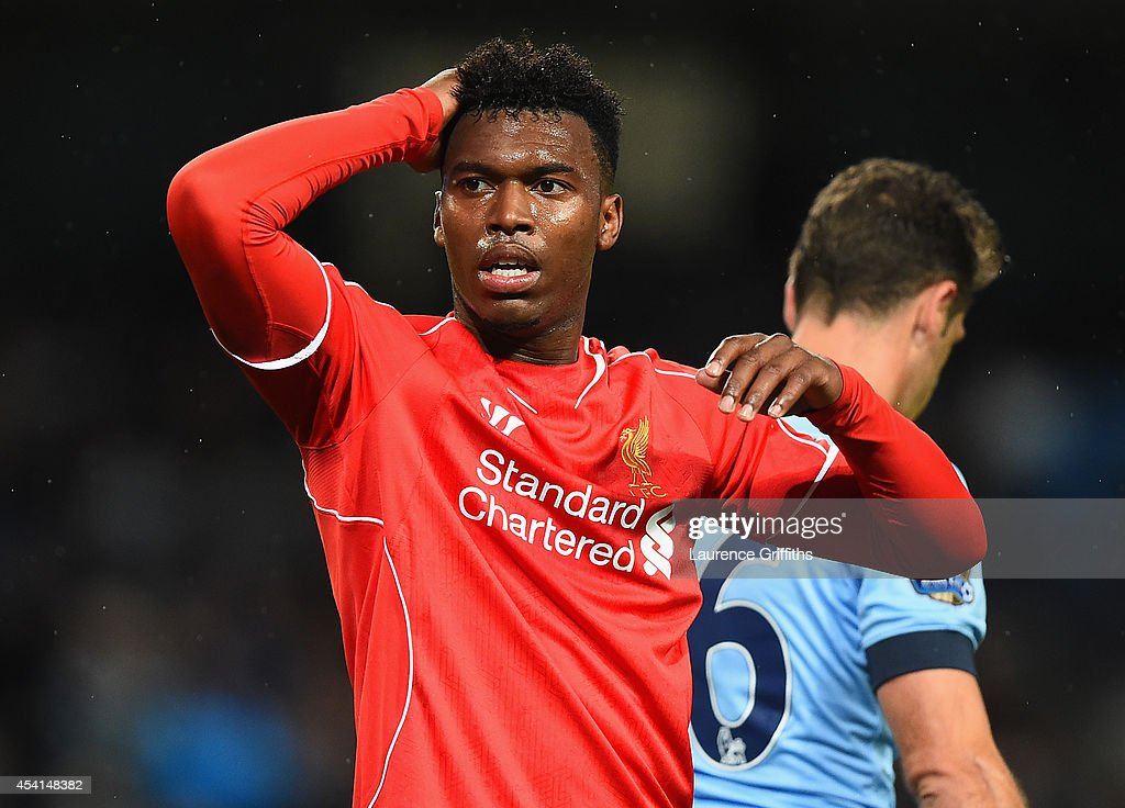 <a gi-track='captionPersonalityLinkClicked' href=/galleries/search?phrase=Daniel+Sturridge&family=editorial&specificpeople=677270 ng-click='$event.stopPropagation()'>Daniel Sturridge</a> of Liverpool reacts during the Barclays Premier League match between Manchester City and Liverpool at the Etihad Stadium on August 25, 2014 in Manchester, England.