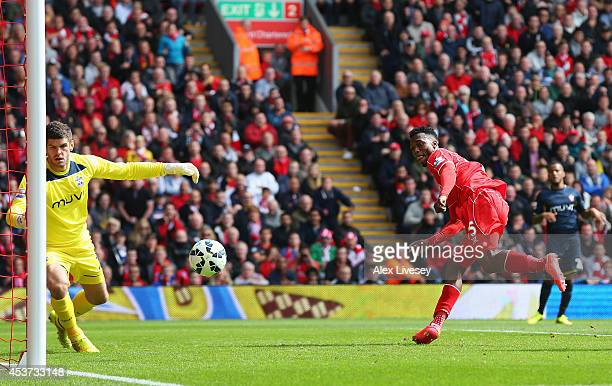 Daniel Sturridge of Liverpool scores his goal during the Barclays Premier League match between Liverpool and Southampton at Anfield on August 17 2014...