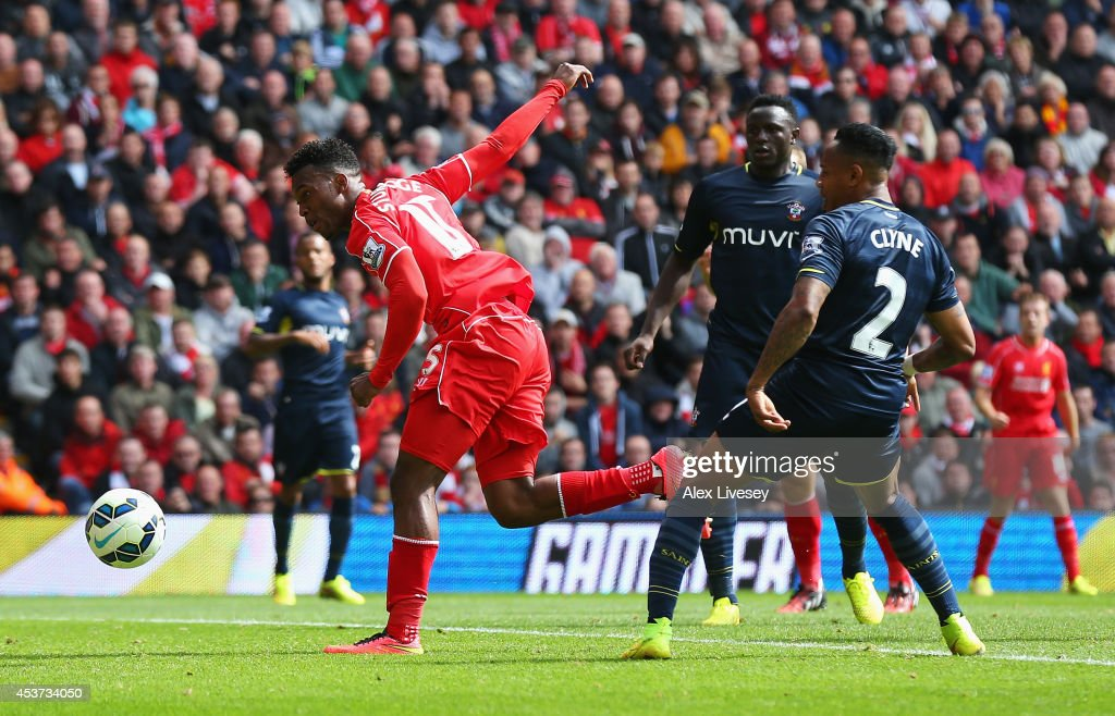 <a gi-track='captionPersonalityLinkClicked' href=/galleries/search?phrase=Daniel+Sturridge+-+Soccer+Player&family=editorial&specificpeople=677270 ng-click='$event.stopPropagation()'>Daniel Sturridge</a> of Liverpool scores his goal during the Barclays Premier League match between Liverpool and Southampton at Anfield on August 17, 2014 in Liverpool, England.