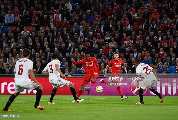 Daniel Sturridge of Liverpool scores his team's first goal during the UEFA Europa League Final match between Liverpool and Sevilla at St JakobPark on...