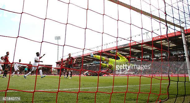 Daniel Sturridge of Liverpool scores his team's second goal of the game during the Barclays Premier League match between AFC Bournemouth and...