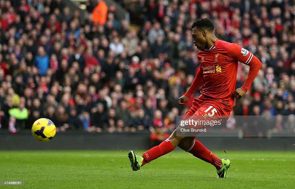 <a gi-track='captionPersonalityLinkClicked' href=/galleries/search?phrase=Daniel+Sturridge&family=editorial&specificpeople=677270 ng-click='$event.stopPropagation()'>Daniel Sturridge</a> of Liverpool scores the first goal during the Barclays Premier League match between Liverpool and Swansea City at Anfield on February 23, 2014 in Liverpool, England.