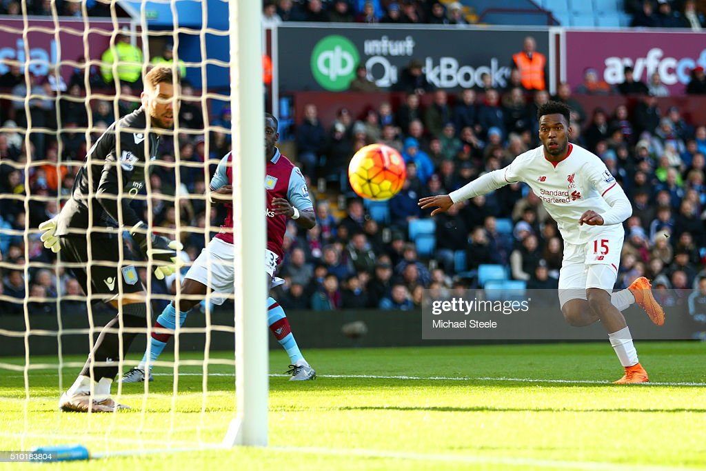 <a gi-track='captionPersonalityLinkClicked' href=/galleries/search?phrase=Daniel+Sturridge&family=editorial&specificpeople=677270 ng-click='$event.stopPropagation()'>Daniel Sturridge</a> of Liverpool scores the opening goal during the Barclays Premier League match between Aston Villa and Liverpool at Villa Park on February 14, 2016 in Birmingham, England.
