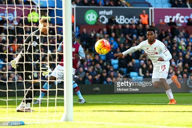 Daniel Sturridge of Liverpool scores the opening goal during the Barclays Premier League match between Aston Villa and Liverpool at Villa Park on...