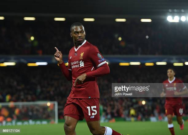 Daniel Sturridge of Liverpool scores the third goal and celebrates during the UEFA Champions League group E match between Liverpool FC and NK Maribor...