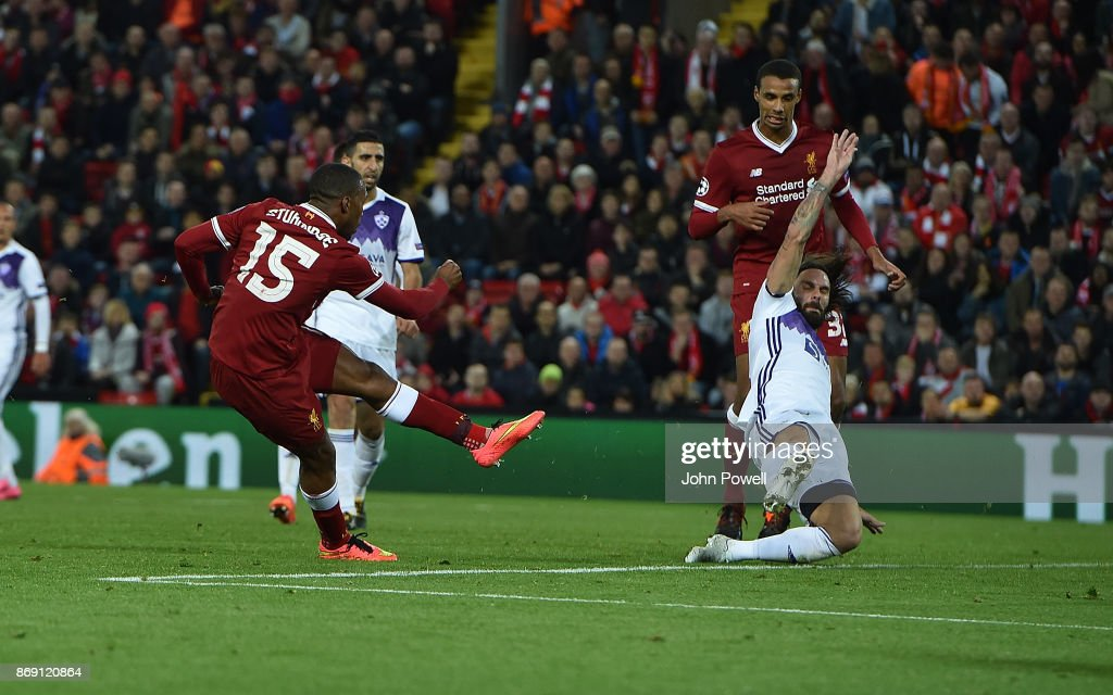 Daniel Sturridge of Liverpool scores the third goal during the UEFA Champions League group E match between Liverpool FC and NK Maribor at Anfield on November 1, 2017 in Liverpool, United Kingdom.