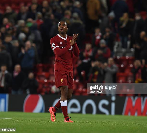 Daniel Sturridge of Liverpool shows his appreciation to the fans at the end of the UEFA Champions League group E match between Liverpool FC and NK...