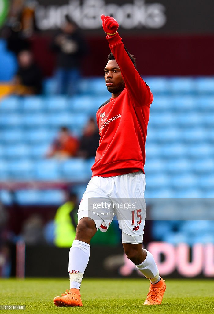 <a gi-track='captionPersonalityLinkClicked' href=/galleries/search?phrase=Daniel+Sturridge&family=editorial&specificpeople=677270 ng-click='$event.stopPropagation()'>Daniel Sturridge</a> of Liverpool stretches during the warm-up before the Barclays Premier League match between Aston Villa and Liverpool at Villa Park on February 14, 2016 in Birmingham, England.