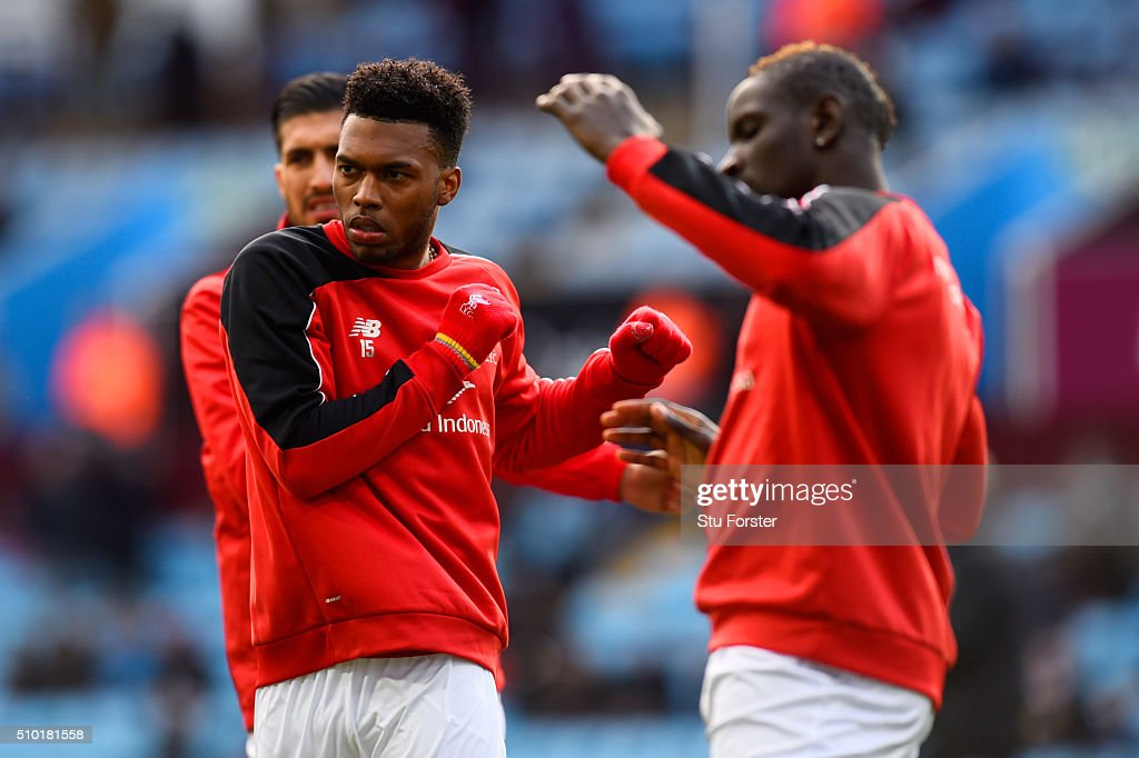 <a gi-track='captionPersonalityLinkClicked' href=/galleries/search?phrase=Daniel+Sturridge&family=editorial&specificpeople=677270 ng-click='$event.stopPropagation()'>Daniel Sturridge</a> of Liverpool stretches with <a gi-track='captionPersonalityLinkClicked' href=/galleries/search?phrase=Emre+Can&family=editorial&specificpeople=5909273 ng-click='$event.stopPropagation()'>Emre Can</a> and <a gi-track='captionPersonalityLinkClicked' href=/galleries/search?phrase=Mamadou+Sakho&family=editorial&specificpeople=4154099 ng-click='$event.stopPropagation()'>Mamadou Sakho</a> of Liverpool during the warm-up before the Barclays Premier League match between Aston Villa and Liverpool at Villa Park on February 14, 2016 in Birmingham, England.