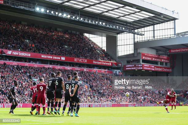 Daniel Sturridge of Liverpool takes a free kick during the Premier League match between Liverpool and Crystal Palace at Anfield on August 19 2017 in...