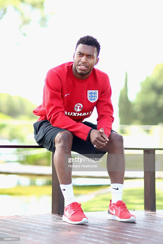 <a gi-track='captionPersonalityLinkClicked' href=/galleries/search?phrase=Daniel+Sturridge&family=editorial&specificpeople=677270 ng-click='$event.stopPropagation()'>Daniel Sturridge</a> poses for a picture after a press conference at the England pre-World Cup Training Camp at the Vale Do Lobo Resort on May 21, 2014 in Vale Do Lobo, Algarve, Portugal.