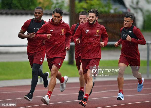 Daniel Sturridge Roberto Firmino Adam Lallana Philippe Coutinho and Ryan Kent of Liverpool during a training session at RottachEgern on July 26 2017...
