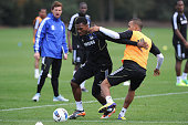 Daniel Sturridge Ryan Bertrand of Chelsea during a training session at the Cobham training ground on October 13 2011 in Cobham England