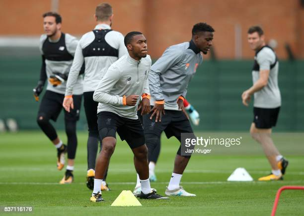 Daniel Sturridge takes part in the Liverpool Training Session at Melwood on August 22 2017 in Liverpool England The second leg of the UEFA Champions...