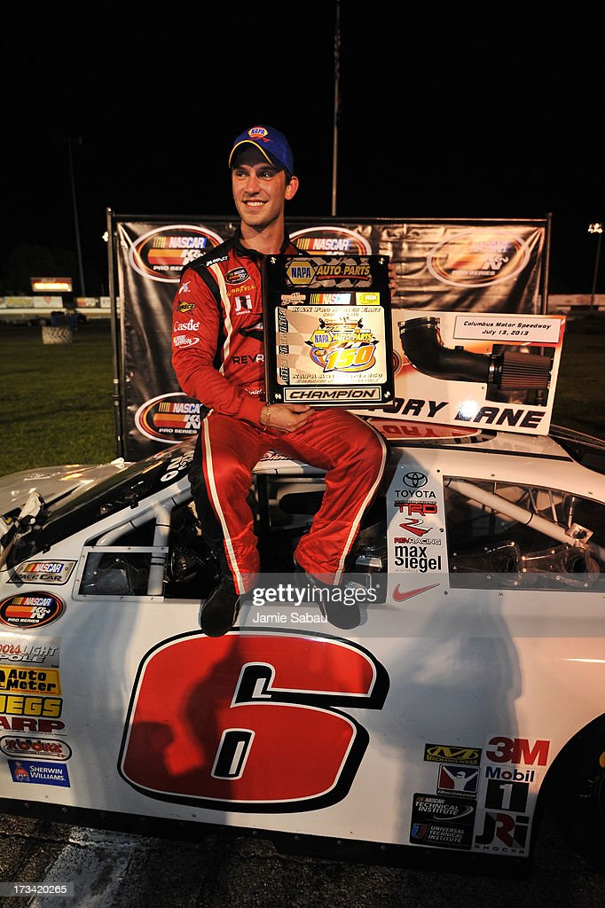 Daniel Suarez celebrates after winning the NASCAR K&N Pro Series, East NAPA 150 on July 13, 2013 at Columbus Motor Speedway in Columbus, Ohio.