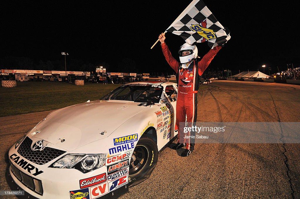 Daniel Suarez celebrates after winning the NASCAR K&N Pro Series, East NAPA 150 on July 13, 2013 at Columbus Motor Speedway in Columbus, Ohio.