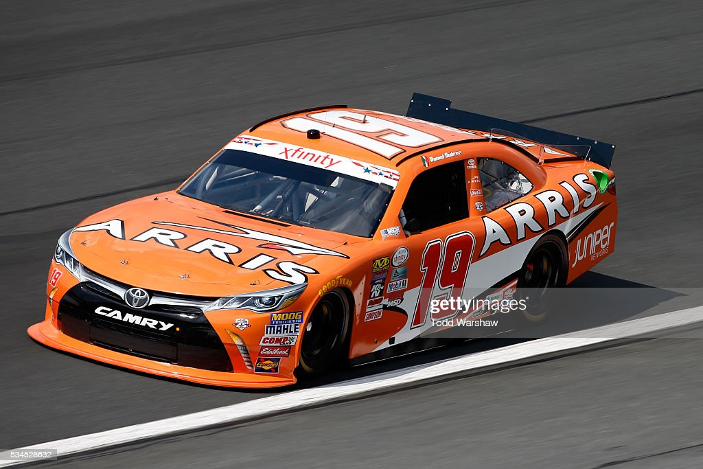 Daniel Suarez, driver of the #19 ARRIS Toyota, drives during practice for the NASCAR XFINITY Series Hisense 4K TV 300 at Charlotte Motor Speedway on May 27, 2016 in Charlotte, North Carolina.