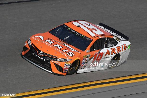 Daniel Suarez driver of the ARRIS Toyota drives during qualifying for the Monster Energy NASCAR Cup Series 59th Annual DAYTONA 500 at Daytona...