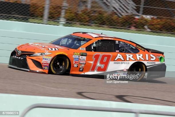 Daniel Suarez driver of the Arris Toyota during practice for the Ford Ecoboost 400 at HomesteadMiami Speedway on November 18 2017 in Homestead Florida