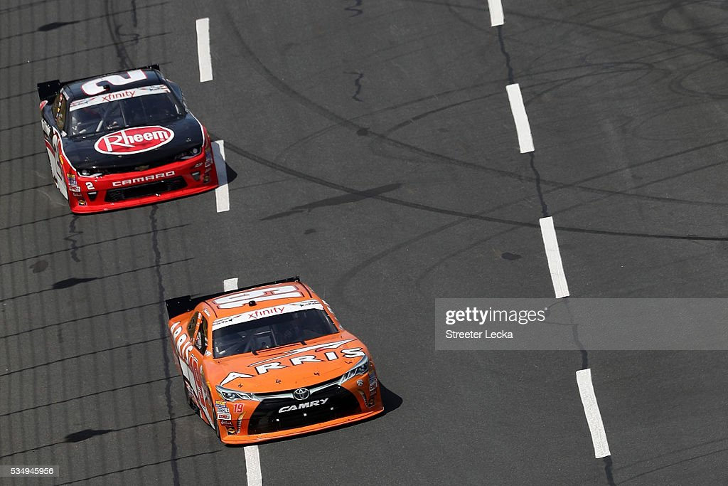 Daniel Suarez, driver of the #19 ARRIS Toyota, leads <a gi-track='captionPersonalityLinkClicked' href=/galleries/search?phrase=Austin+Dillon&family=editorial&specificpeople=5075945 ng-click='$event.stopPropagation()'>Austin Dillon</a>, driver of the #2 Rheem Chevrolet, during the NASCAR XFINITY Series Hisense 300 at Charlotte Motor Speedway on May 28, 2016 in Charlotte, North Carolina.