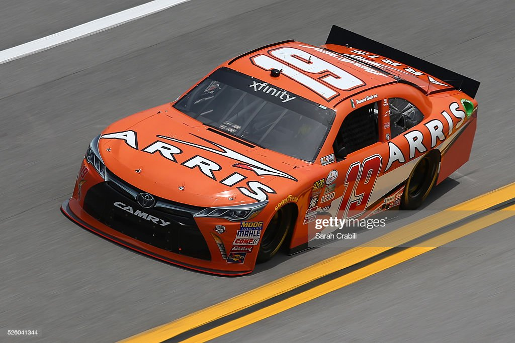 Daniel Suarez, driver of the #19 ARRIS Toyota, practices for the NASCAR XFINITY Series Sparks Energy 300 at Talladega Superspeedway on April 29, 2016 in Talladega, Alabama.