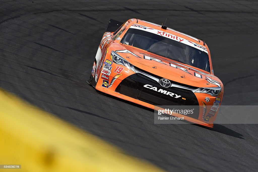 Daniel Suarez, driver of the #19 ARRIS Toyota, practices for the NASCAR XFINITY Series Hisense 4K TV 300 at Charlotte Motor Speedway on May 27, 2016 in Charlotte, North Carolina.