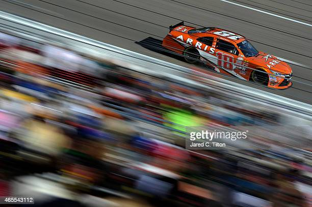 Daniel Suarez driver of the ARRIS Toyota races during the NASCAR XFINITY Series Boyd Gaming 300 at Las Vegas Motor Speedway on March 7 2015 in Las...
