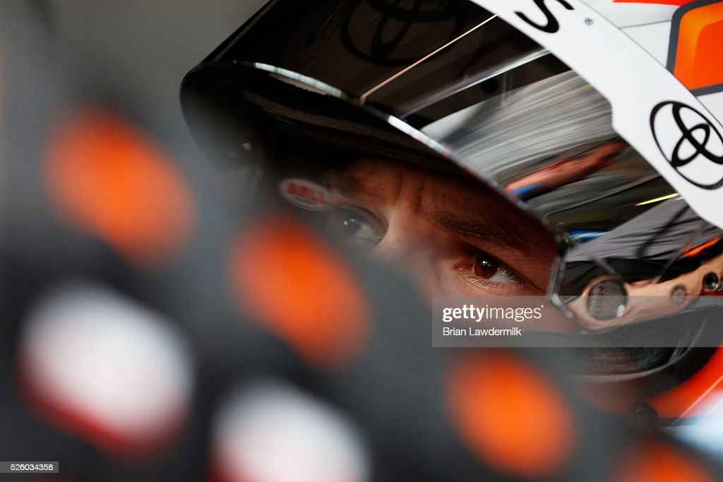 Daniel Suarez, driver of the #19 ARRIS Toyota, sits in his car during practice for the NASCAR XFINITY Series Sparks Energy 300 at Talladega Superspeedway on April 29, 2016 in Talladega, Alabama.