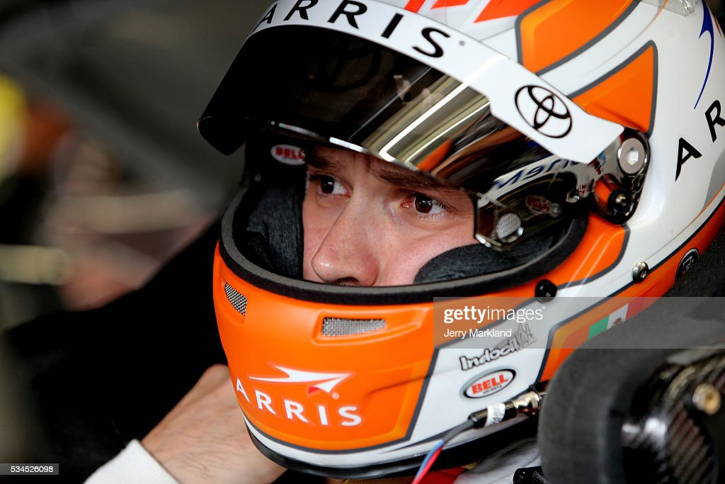 Daniel Suarez, driver of the #19 ARRIS Toyota, sits in his car during practice for the NASCAR XFINITY Series Hisense 4K TV 300 at Charlotte Motor Speedway on May 27, 2016 in Charlotte, North Carolina.