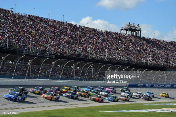 Daniel Suarez driver of the Camping World Toyota leads a pack of cars during the Monster Energy NASCAR Cup Series Alabama 500 at Talladega...