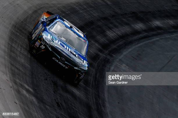 Daniel Suarez driver of the Juniper Toyota practices for the NASCAR Xfinity Series Food City 300 at Bristol Motor Speedway on August 17 2017 in...