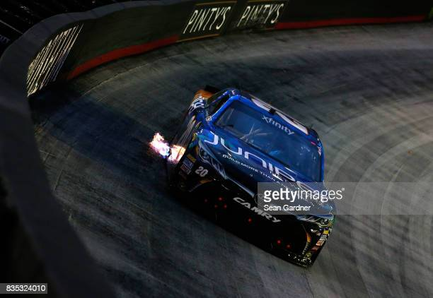Daniel Suarez driver of the Juniper Toyota races during the NASCAR XFINITY Series Food City 300 at Bristol Motor Speedway on August 18 2017 in...