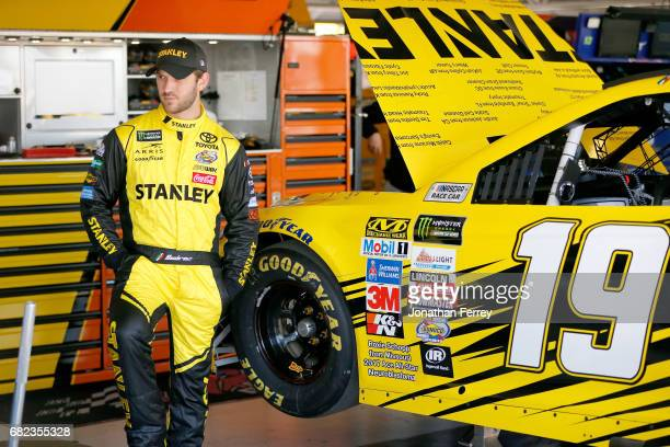 Daniel Suarez driver of the STANLEY ACE/CMN Toyota prepares to practice practice for the Monster Energy NASCAR Cup Series Go Bowling 400 at Kansas...