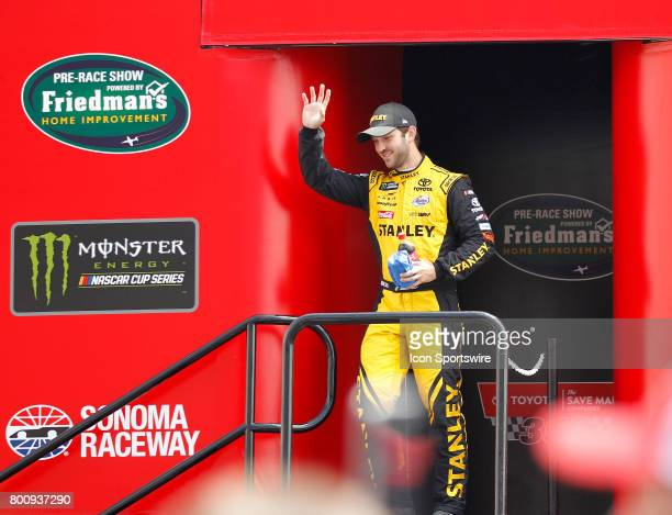 Daniel Suarez driver of the Stanley Toyota is introduced during prerace festivities before the NASCAR Monster Energy Cup Series Toyota/Save Mart 350...