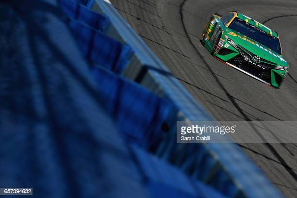Daniel Suarez driver of the Subway Toyota drives during practice for the Monster Energy NASCAR Cup Series Auto Club 400 at Auto Club Speedway on...
