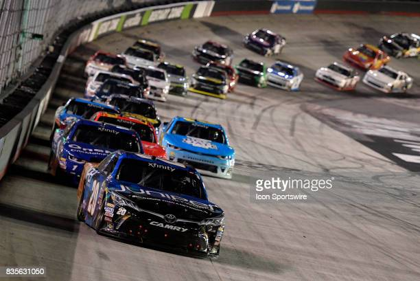 Daniel Suarez Joe Gibbs Racing Toyota Camry leads the field after a restart during the Food City 300 on August 18 at the Bristol Motor Speedway in...