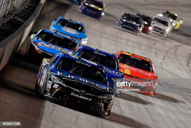 Daniel Suarez Joe Gibbs Racing Toyota Camry leads the field down the front stretch during the Food City 300 on August 18 at the Bristol Motor...