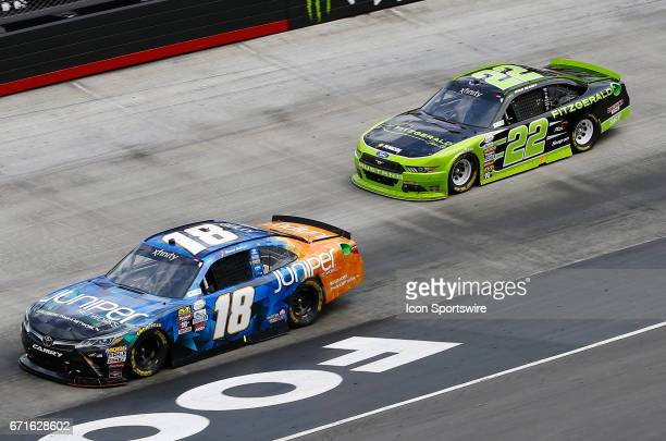 Daniel Suarez Juniper Toyota Camry and Ryan Blaney during the Fitzgerald Glider Kits 300 NASCAR Xfinity Series race on April 22 2017 at Bristol Motor...
