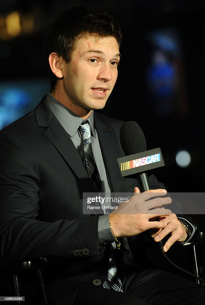 Daniel Suarez, K&N Pro Series East driver, speaks in an interview during the NASCAR Night of Champions at Charlotte Convention Center on December 14, 2013 in Charlotte, North Carolina.