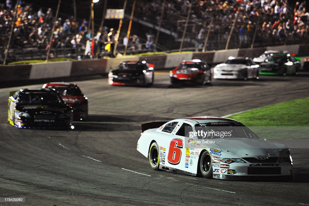 Daniel Suarez #6 leads the pack late in the NASCAR K&N Pro Series, East NAPA 150 on July 13, 2013 at Columbus Motor Speedway in Columbus, Ohio. Suarez took the checkered flag.