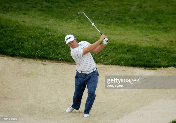 Daniel Summerhays hits from a bunker on the 16th hole during the final round of the Memorial Tournament at Muirfield Village Golf Club on June 4 2017...
