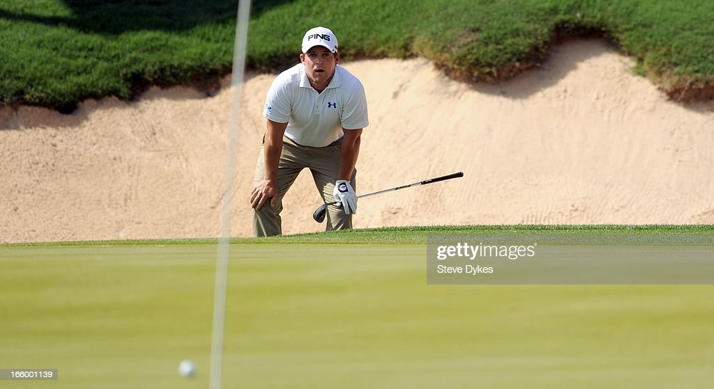 <a gi-track='captionPersonalityLinkClicked' href=/galleries/search?phrase=Daniel+Summerhays&family=editorial&specificpeople=4404172 ng-click='$event.stopPropagation()'>Daniel Summerhays</a> hits out of a bunker on the 18th hole during the final round of the Valero Texas Open at the AT&T Oaks Course at TPC San Antonio on April 7, 2013 in San Antonio, Texas.