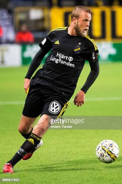 Daniel Sundgren of AIK controls the ball during the Allsvenskan match between IF Elfsborg and AIK at Boras Arena on April 10 2017 in Boras Sweden